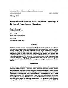 Research and Practice in K-12 Online Learning: A ... - LearnTechLib