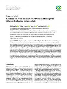 Research Article A Method for Multicriteria Group