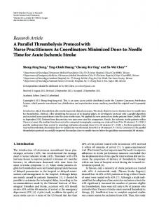 Research Article A Parallel Thrombolysis Protocol ... - BioMedSearch