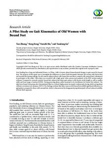 Research Article A Pilot Study on Gait Kinematics of ...