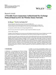 Research Article A Provably Secure Anonymous ...