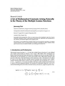 Research Article A Set of Mathematical Constants