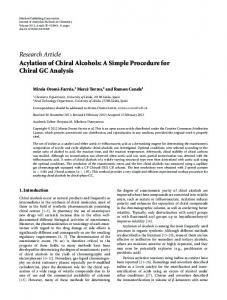 Research Article Acylation of Chiral Alcohols: A