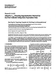 Research Article Adaptive L Shooting Regularization ... - ScienceOpen