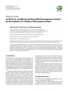 Research Article Al-MCM-41: An Efficient and Recyclable ... - Hindawi