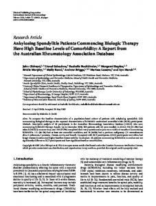 Research Article Ankylosing Spondylitis Patients ... - ScienceOpen