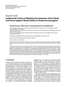 Research Article Antibacterial Activity of Rhodomyrtus ... - BioMedSearch