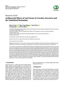 Research Article Antibacterial Effects of Leaf Extract
