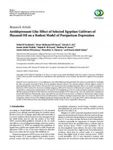 Research Article Antidepressant-Like Effect of