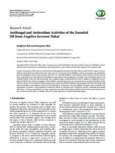 Research Article Antifungal and Antioxidant Activities