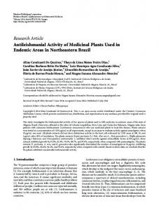 Research Article Antileishmanial Activity of Medicinal ... - BioMedSearch