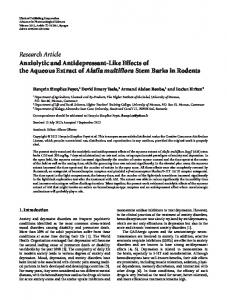 Research Article Anxiolytic and Antidepressant-Like ... - ScienceOpen