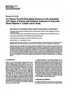Research Article Are Plasma Thyroid-Stimulating ... - ScienceOpen
