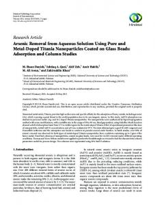 Research Article Arsenic Removal from Aqueous