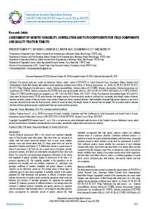 Research Article ASSESSMENT OF GENETIC ... - BioInfo Publication