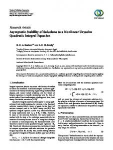 Research Article Asymptotic Stability of Solutions to a ...