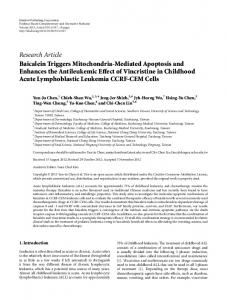 Research Article Baicalein Triggers Mitochondria-Mediated Apoptosis ...