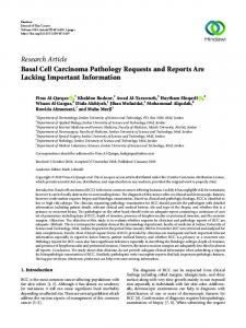 Research Article Basal Cell Carcinoma Pathology Requests and