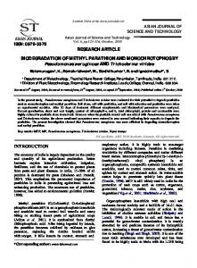 RESEARCH ARTICLE BIODEGRADATION OF METHYL PARATHION ...
