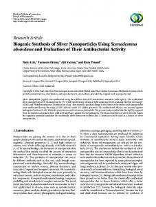 Research Article Biogenic Synthesis of Silver ...