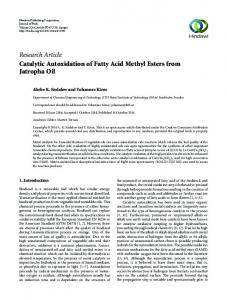 Research Article Catalytic Autoxidation of Fatty Acid Methyl Esters