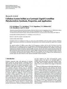 Research Article Cellulose Acetate Sulfate as a