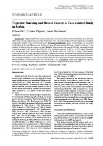 RESEARCH ARTICLE Cigarette Smoking and Breast Cancer: a Case ...