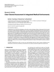 Research Article Clear Channel Assessment in Integrated Medical ...