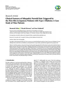 Research Article Clinical Features of Idiopathic