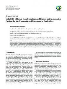 Research Article Cobalt(II) Chloride Hexahydrate as ...