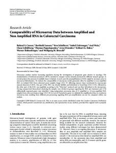 Research Article Comparability of Microarray Data ... - ScienceOpen