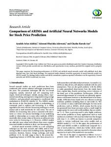 Research Article Comparison of ARIMA and Artificial Neural Networks ...