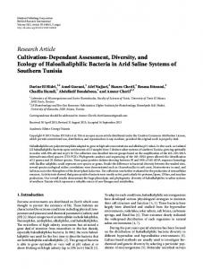 Research Article Cultivation-Dependant Assessment ... - ScienceOpen