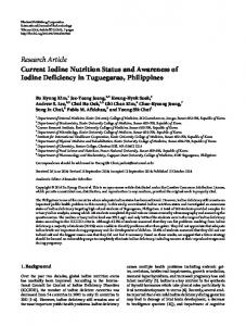 Research Article Current Iodine Nutrition Status and Awareness of