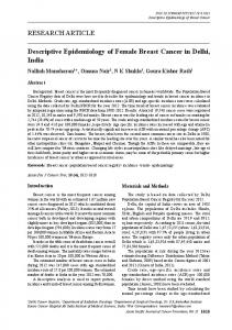 RESEARCH ARTICLE Descriptive Epidemiology of Female Breast