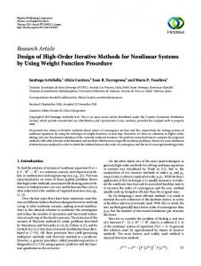 Research Article Design of High-Order Iterative Methods for Nonlinear ...