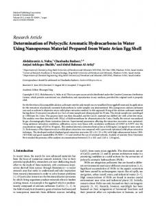 Research Article Determination of Polycyclic Aromatic Hydrocarbons