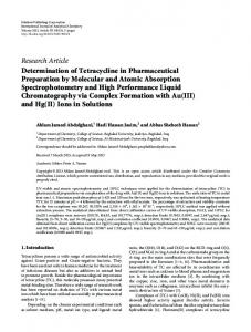 Research Article Determination of Tetracycline in ... - BioMedSearch