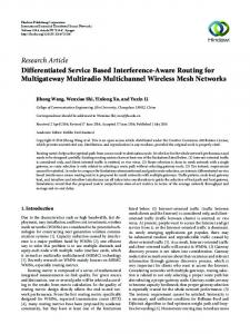 Research Article Differentiated Service Based