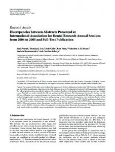 Research Article Discrepancies between Abstracts ... - ScienceOpen