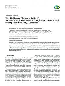 Research Article DNA Binding and Cleavage ...