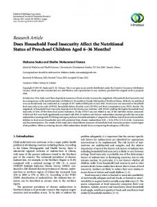 Research Article Does Household Food Insecurity