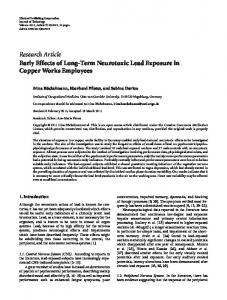 Research Article Early Effects of Long-Term Neurotoxic ... - ScienceOpen