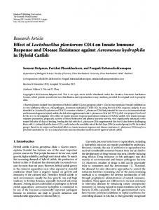 Research Article Effect of Lactobacillus plantarum ... - ScienceOpen