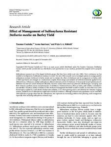 Research Article Effect of Management of ...
