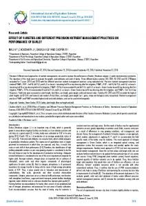 Research Article EFFECT OF VARIETIES AND ... - BioInfo Publication