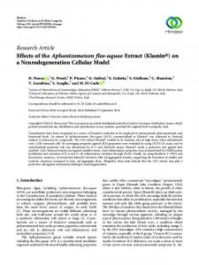 Research Article Effects of the Aphanizomenon flos-aquae Extract