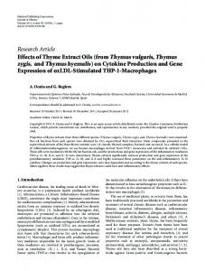Research Article Effects of Thyme Extract Oils (from Thymus vulgaris ...