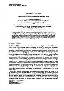 RESEARCH ARTICLE Electron-electron correlation in