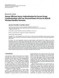 Research Article Energy-Efficient Source Authentication for Secure ...